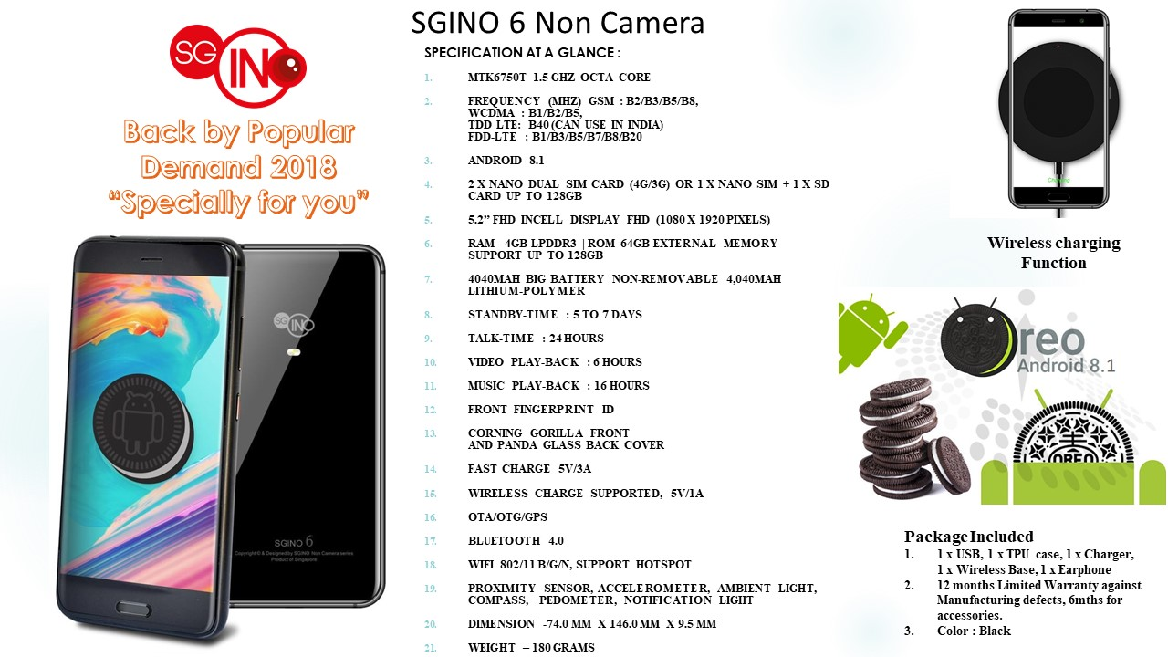 SGiNO 6 Non Camera Smartphone | SGiNO Mobile